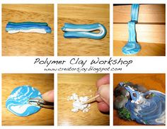 How to make Polymer Clay Waterfalls - Tutorial - by Creators Joy Polymer Clay Canes, Polymer Clay Projects, Arts And Crafts, Diy Crafts, Fondant Tutorial, Clay Food, Porcelain Clay, Clay Charms, Clay Tutorials