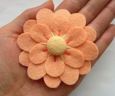peach felt flower