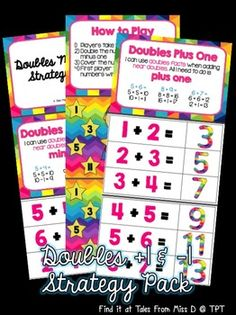 Doubles Plus and Minus One Math Doubles, Doubles Facts, Teacher Resources, Teacher Pay Teachers, Roll A Die, Miss D, Addition Activities, Plus And Minus, Recording Sheets