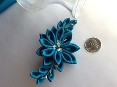 Hair Clip Teal Blue Kanzashi Flowers with by LihiniCreations