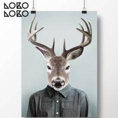 Póster del retrato de un ciervo humanizado vistiendo ropa moderna