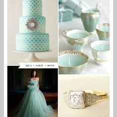 Aqua and gold wedding!! love it!!