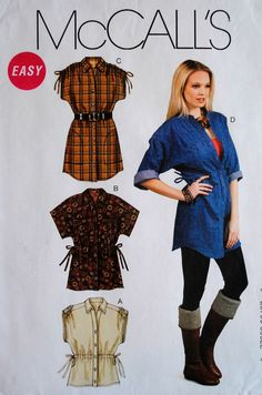 Uncut Misses Loose Fit Button Front Drawstring Waist Shoulder Pocket Cuff Sleeve Top Tunic Size 16 18 20 22 24 26 Sewing Pattern M6401 Easy