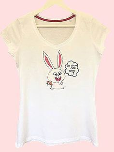 Handmade T-shirt Bunny from Secret life of pets movie    This T-shirt is suitable for all women, the material is 100% cotton and it's painted manual with quality and non toxic paint, which is also permanent. You can wash it in the washing machine or manually at 30 Celsius degrees. Pets Movie, Non Toxic Paint, Secret Life Of Pets, Washing Machine, Manual, Bunny, T Shirts For Women, Cotton, Handmade