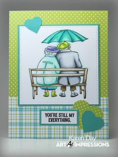 Art Impressions Rubber Stamps: LOVE BIRDS AiCS27 ...Hobby Lobby. Handmade anniversary card.