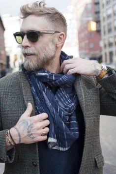 Love his style - and that haircut. graying hair can still be edgy and stylish for men without a frumpy cut...
