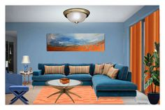 """""""COLOR CHALLENGE BLUE & ORANGE"""" by arjanadesign ❤ liked on Polyvore featuring interior, interiors, interior design, home, home decor, interior decorating, Monarch, Kichler, Abbyson Living and Home"""