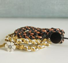Refresh your style with this up-to-date and edgy triple wrap bracelet taught by Brie. All levels are encouraged to take this class, and all materials for one of the color-ways shown are included in your class fee. Like it so much you want to make more? Choose from assorted colors of Greek leather or satin rat tail, perhaps, to make more on your own!
