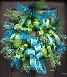 Peacock Christmas Wreath, Lime and Turquoise, Peacock Decor, Christmas Wreaths, Peacock Wreaths