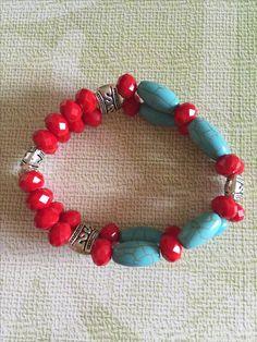Pulsera de piedra aqua y roja