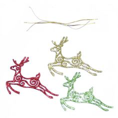Each of these fantastic tree decorations is designed in the shape of a reindeer and decorated with glitter. Add some glitter and sparkle to your Christmas tree! Perfect for Christmas and fantastic for any festive celebration. Hanging Decorations, Festival Decorations, Hanging Ornaments, Christmas Tree Decorations, Christmas Ornaments, Xmas Party, Hangers, Reindeer, Glitter