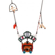 Long necklace tiger cage and trapeze