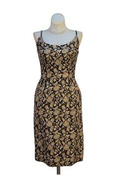 Cabaret Vintage - 1960s Gold and Black Brocade Dress, $175.00 (http://www.cabaretvintage.com/new-arrivals/1960s-gold-and-black-brocade-dress/)