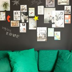 Colorful stuff on magnetic chalkboard / blackboard. Lovely color combo as well! DIY wall decoration and interior inspiration. Magnetic Paint, Magnetic Chalkboard, Magnetic White Board, Blackboard Paint, Design Shop, Chalkboard Wallpaper, Diy Wall Decor, Room Decor, Boutique Deco