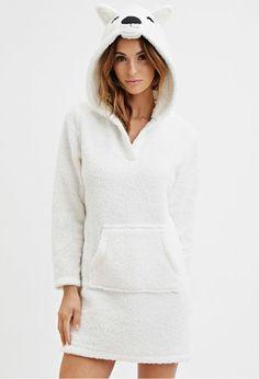 Plush Polar Bear Hooded Nightdress | Forever 21 - 2000146568