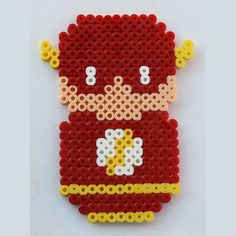 Perler Bead Chibi Bean JLA Flash Fridge Magnet or Wall Art by theplayfulperler