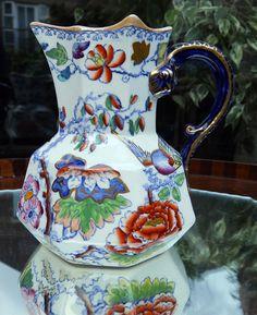 Antique English Pottery : Masons Ironstone Hydra Jug - Bird of Paradise