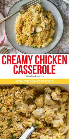 Serve up some comfort food for dinner with the best Creamy Chicken Casserole! Chicken, pasta and veggies in a creamy sauce, topped with buttery crackers.