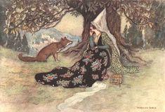 Grannonia and the Fox. Basile, Giambattista. Stories from the Pentamerone. E. F. Strange, editor. Warwick Goble, illustrator. London: Macmillan & Co., 1911.