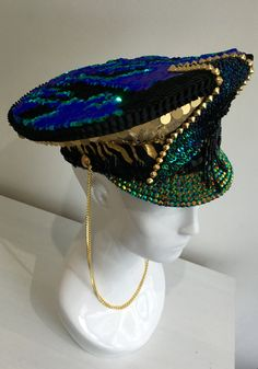 Love Khaos Necessary Awesome Hat, UNISEX Party Hat, Officers Cap, Sequin Gold Mermaid Green & Black Burning Man Festival headdress