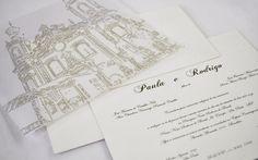 Gravura do local da cerimônia personaliza o convite. De S-Cards . Foto: Divulgação