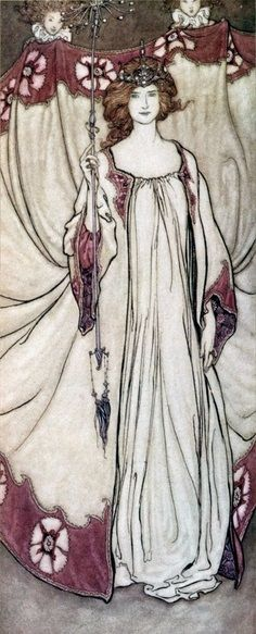 Arthur Rackham | Queen Mab, who rules in the gardens