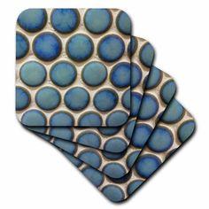 3dRose Blue Shiny Circles, Soft Coasters, set of 8
