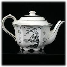Sadler Vintage Teapot White Silver Scenic Castle 1841 Staffordshire Pottery