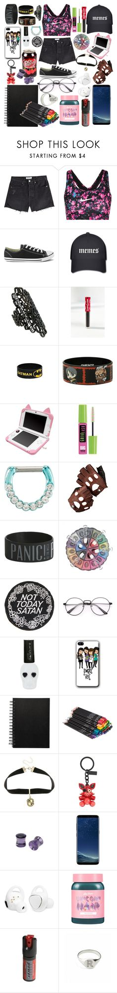 """Untitled #57"" by anamariarox ❤ liked on Polyvore featuring Frame, NIKE, Converse, Repossi, Lime Crime, Hot Topic, Maybelline, Aspinal of London, Rupaul and Warner Bros."