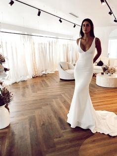 Dream Wedding Dresses, Bridal Dresses, Plain Wedding Dress, Crepe Wedding Dress, Affordable Wedding Dresses, Wedding Goals, Wedding Day, Wedding Summer, Yes To The Dress
