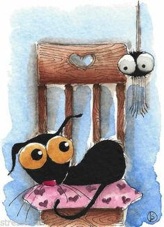ACEO Original Watercolor Folk Art Stressie Cat Love Chair Heart Valentine Spider | eBay
