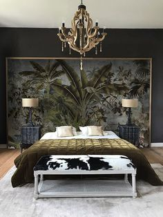 Beautiful Home Interior Panoramic wallpaper headboard-udaipur-patine Home Interior Panoramic wallpaper headboard-udaipur-patine # Dark Cozy Bedroom, Earthy Bedroom, Wallpaper Headboard, Bedroom Decor With Wallpaper, Wallpaper Feature Walls, Interior Design Wallpaper, Udaipur, Home Decor Bedroom, Diy Bedroom