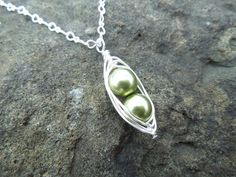 Peapod+Necklace+Light+Green+Pearls+Silver+Wire+by+JewelsbyJanine,+$19.00