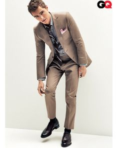 Best Brown Suits Modeled by Dave Franco: Style: GQ    Suit, and pocket square by Z Zegna. Shirt, by Topman. Tie, by Club Monaco. Shoes, by Bally. Socks by Pantherella. Tie bar by The Tie Bar.