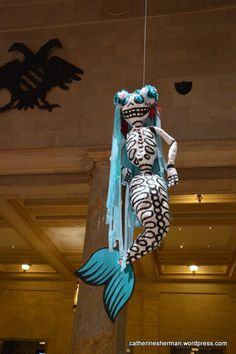 Day of the Dead Festival at the Nelson-Atkins Museum of Art, Kansas City, Missouri. El Dia de los Muertos. Paper Mache #Mermaid skeleton.   https://catherinesherman.wordpress.com/2015/10/30/dead-of-the-dead-festival-at-the-nelson-atkins-museum/