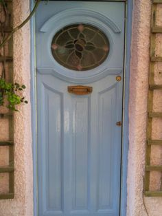 1930s Front Door With Stained Glass Panel