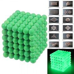 216pcs 5mm DIY Buckyballs and Buckycubes Magnetic Blocks Balls Toys Fluorescent Green – GBP £ 19.06