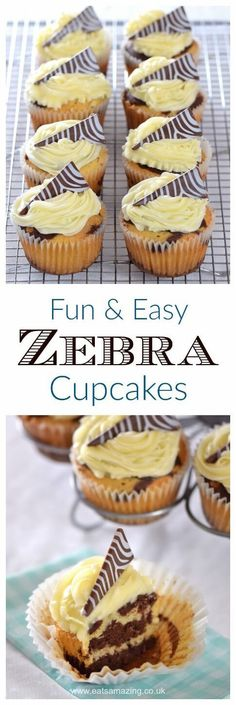 Easy zebra cupcakes - a fun chocolate and vanilla cupcake recipe with zebra stripes inside and out - Eats Amazing UK - with dairy free version