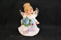 Vintage Lefton July Angel Figurine 6224 Birthstone, July Birthday Angel, Ceramic Angel