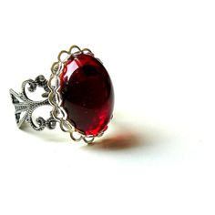 Victorian Ring Steampunk Ring Gothic Ring Silver Ruby Victorian... (£18) ❤ liked on Polyvore featuring jewelry, rings, steampunk, 30. rings., accessories, silver ruby ring, vintage jewelry, oval ruby ring, ruby ring and adjustable rings