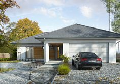 Dobry 3 - wizualizacja 1 - mały dom parterowy z garażem na dwa samochody