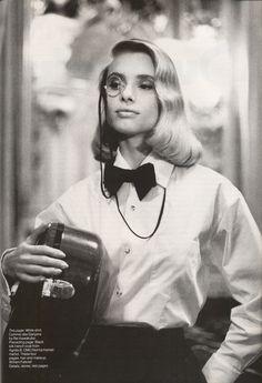 """""""Bonjour, Excess"""", Vogue US, August 1987 Photographer : Helmut Newton Model : Maryam D'Abo"""