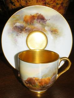 ** Šálek na čaj s podšálkem - malovaný porcelán vnitřně zlacený ♣  Royal Worcester **