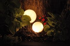 These are re-purposed glass globes, from ceiling lights & have strands of Christmas lights in them. Beautiful way to add some lighting to your garden spot ♥