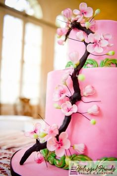 Couture Cakes by Sabrina is a luxury cake boutique that specializes in Wedding and Custom Cakes Creations in the Washington, DC, Maryland, and Virginia area. Cherry Blossom Cake, Cherry Blossom Wedding, Cherry Blossoms, Fondant, Luxury Cake, Green Cake, Couture Cakes, Cakes For Women, Fancy Cakes