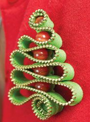 Designer Kari Mecca shares how to whip up this cute Christmas tree pin using zipper trim and a Whimsy Pinwheel, her latest embellishing tool. and a great way to use old zippers!