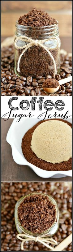 Homemade coffee scrub - fill mason jars with sugar scrub and you have a great under $5 gift idea for Christmas!