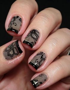 Black nail art designs can instantly add glamour to your look. We have collected all different type of black nail art designs you will surely love to try. Lace Nail Design, Lace Nail Art, Nails Design, Floral Design, Love Nails, Pretty Nails, My Nails, Dark Nails, Nails 2017