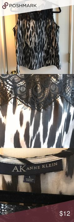 BOGO 50% off! Anne Klein blouse Sleevless black/gray/white blouse with lace  BOGO 50% off! Second item must be of equal or lesser value. Simply add your items to a bundle and I will send you an offer that reflects the discount!! Anne Klein Tops Blouses