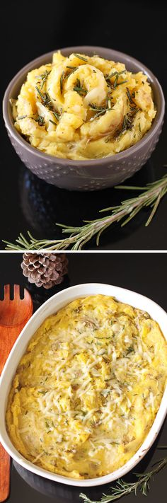 Brown Butter Parmesan Mashed Potatoes: simply the best mashed potato recipe ever. These mashed potatoes are flavored with nutty, indulgent brown butter, rosemary, and salty Parmesan.-- sub in cauliflower or parsnips Side Dish Recipes, Vegetable Recipes, Dinner Recipes, Parmesan Mashed Potatoes, Good Food, Yummy Food, Potato Side Dishes, Brown Butter, Vegetable Dishes